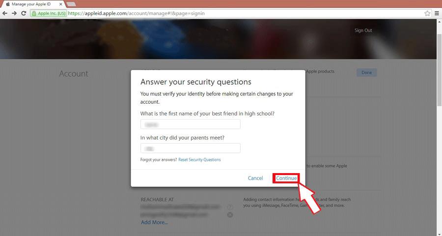وارد کردن پاسخ سوالات امنیتی