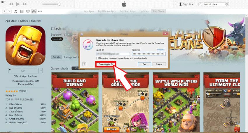 روی دکمه create new apple id کلیک کنید