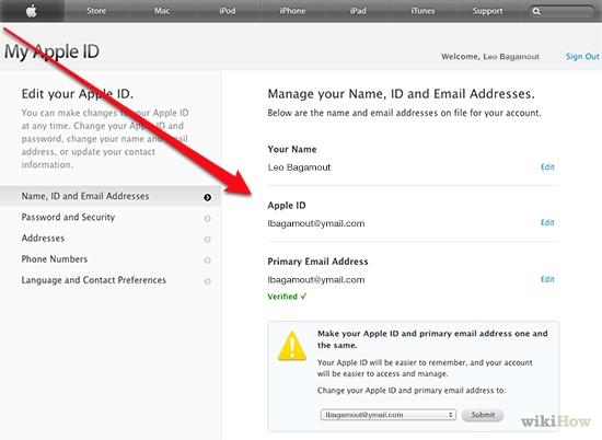 ایمیل متصل به اپل آیدی